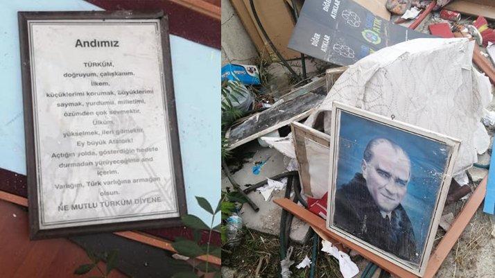 Atatürk'e, adını taşıyan okulda saygısızlık
