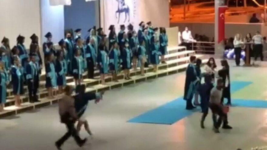 Mezuniyet töreninde öğrencilere güvenlik müdahalesi
