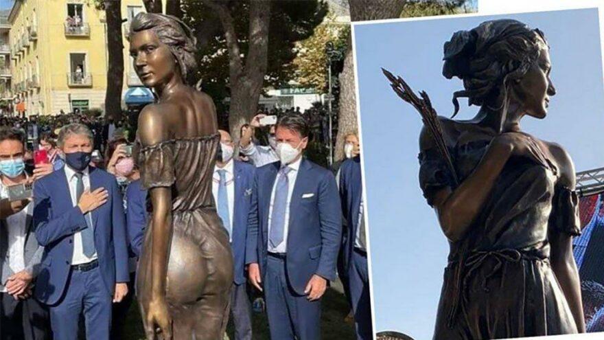 İtalya'yı karıştıran heykel… Özgürlük mücadelesini transparan kadın figürüyle yansıttı