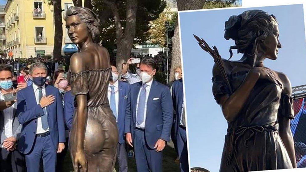 İtalya'yı karıştıran heykel... Özgürlük mücadelesini transparan kadın figürüyle yansıttı