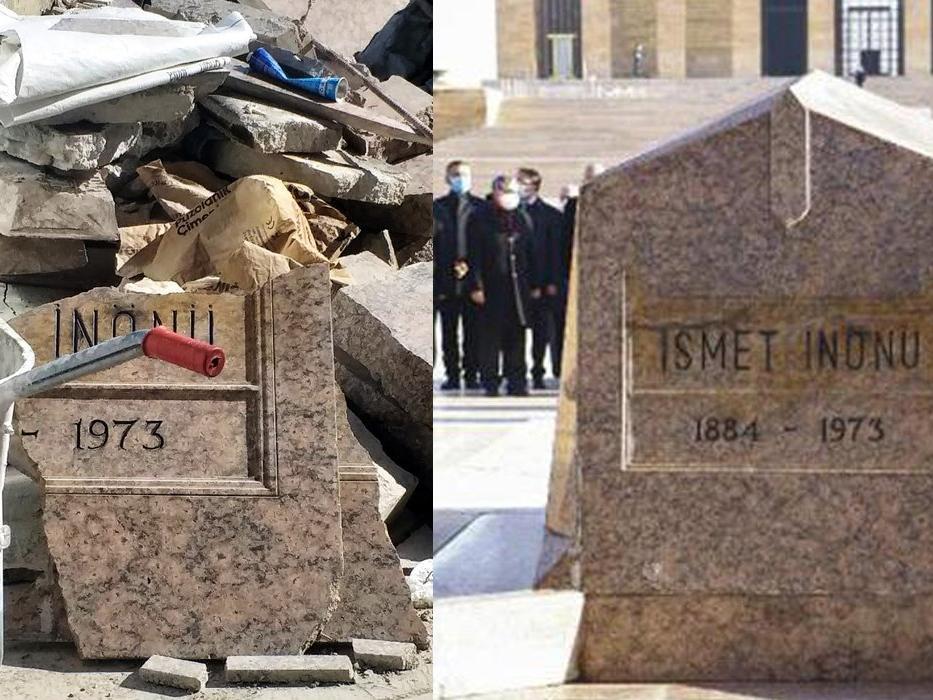 İsmet İnönü'nün kırık mezar taşına tepki