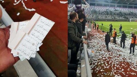Skandal! Kuran sayfalarını ve Türk bayrağını konfeti yaptılar